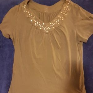Tops - Womens blouse with bling collar